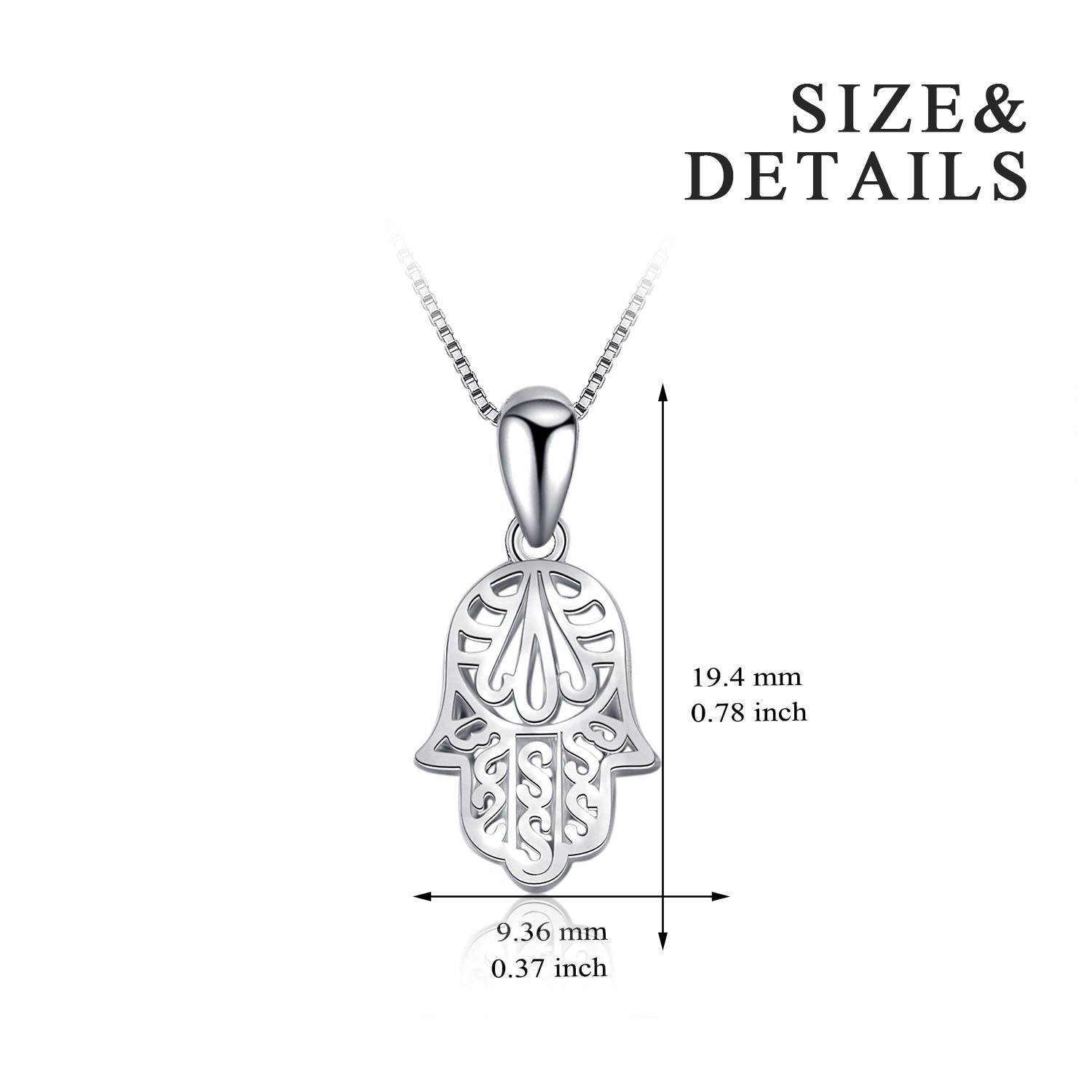 Hamza's Hand Necklace Pendant 925 Sterling Silver Men Jewelry Design