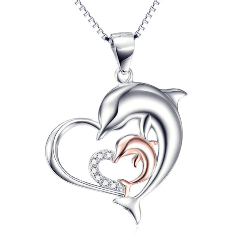 Double Cute Dolphin And Hert Shape 925 Silver Stering Necklace