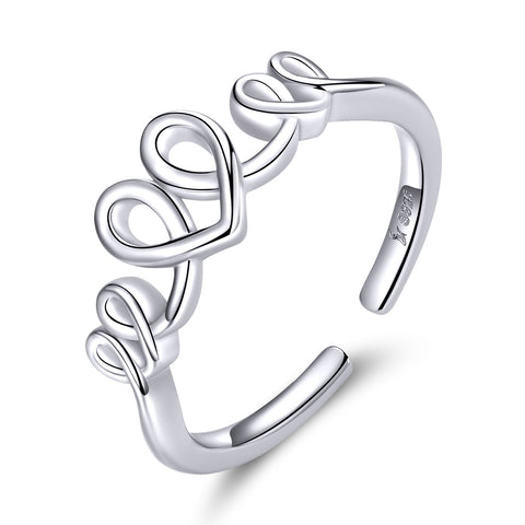 affection ring white gold plated winding ring