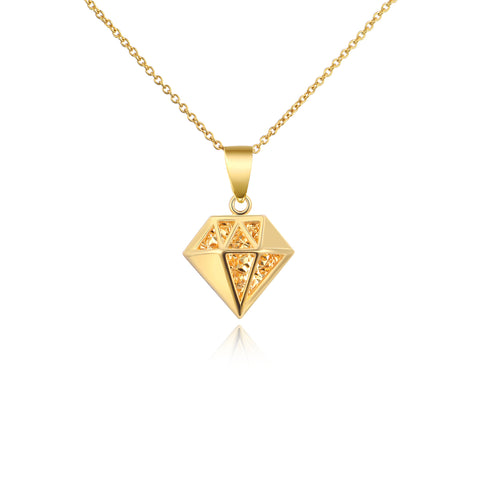 18K Gold Sleek Minimalist Crystal Solid Triangle Geometric Necklace