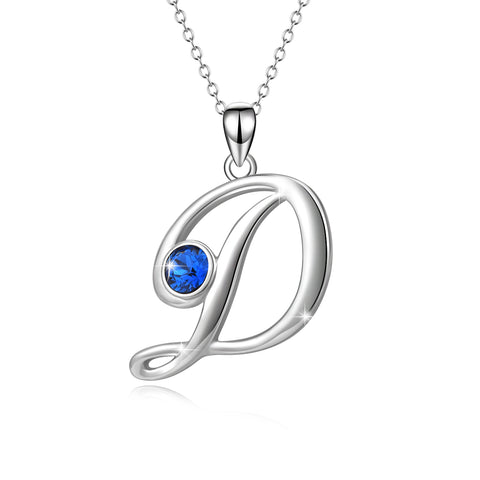 New Design Letter Simple D Necklace with Blue Cubic Zirconia Stone