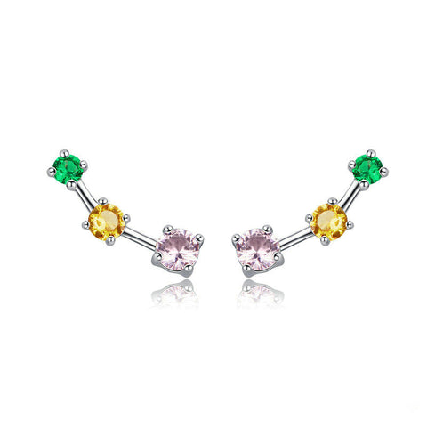 Colorful Square Zircon Exquisite Stud Earrings