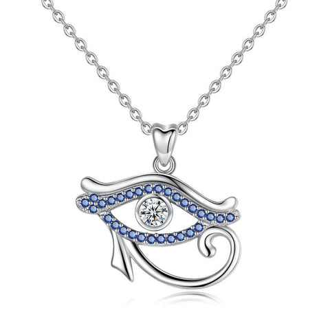 S925 Sterling Silver Evil Eye  with Diamond Necklace Pendant Fashion Jewelry