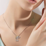 Angel Necklace Mother Grandmother Daughter Zirconia Jewelry Necklace