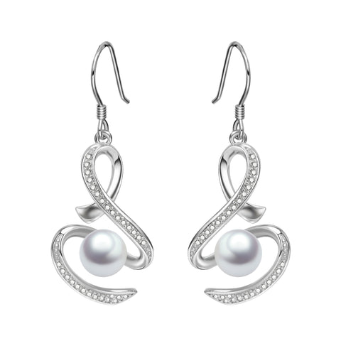 High Quality New Design 925 Silver Sterling Drop Pearl Earrings for Women