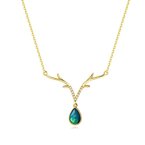 18K Yellow Gold  Diamond & Real Natural Fire Opal Deer Antler Pendant Necklace October Birthstone Fine Jewelry Gift for Women Girls