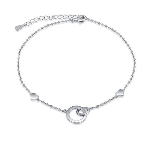 925 Sterling Silver Interlocking Double Circle Heart Anklet Ankle Bracelet Chain Foot Jewelry for Women