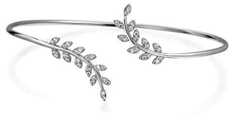Pave Cubic Zirconia CZ Delicate Thin Laurel Vine Nature Leaf Bangle Cuff Bypass Bracelet For Women 925 Sterling Silver