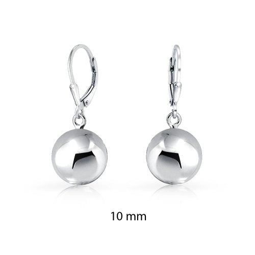 Simple Basic Dangling Leverback Round Bead Ball Drop Earrings For Women Rose Gold Plated 925 Sterling Silver 8-10 MM