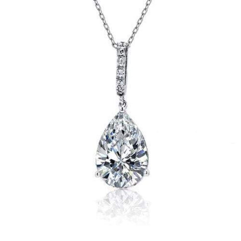4CT Teardrop Shape Solitaire Cubic Zirconia CZ Prong Set Bridal Pendant Necklace For Women Prom 925 Sterling Silver