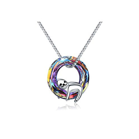 Silver Sloth Crystal Pendant Necklace