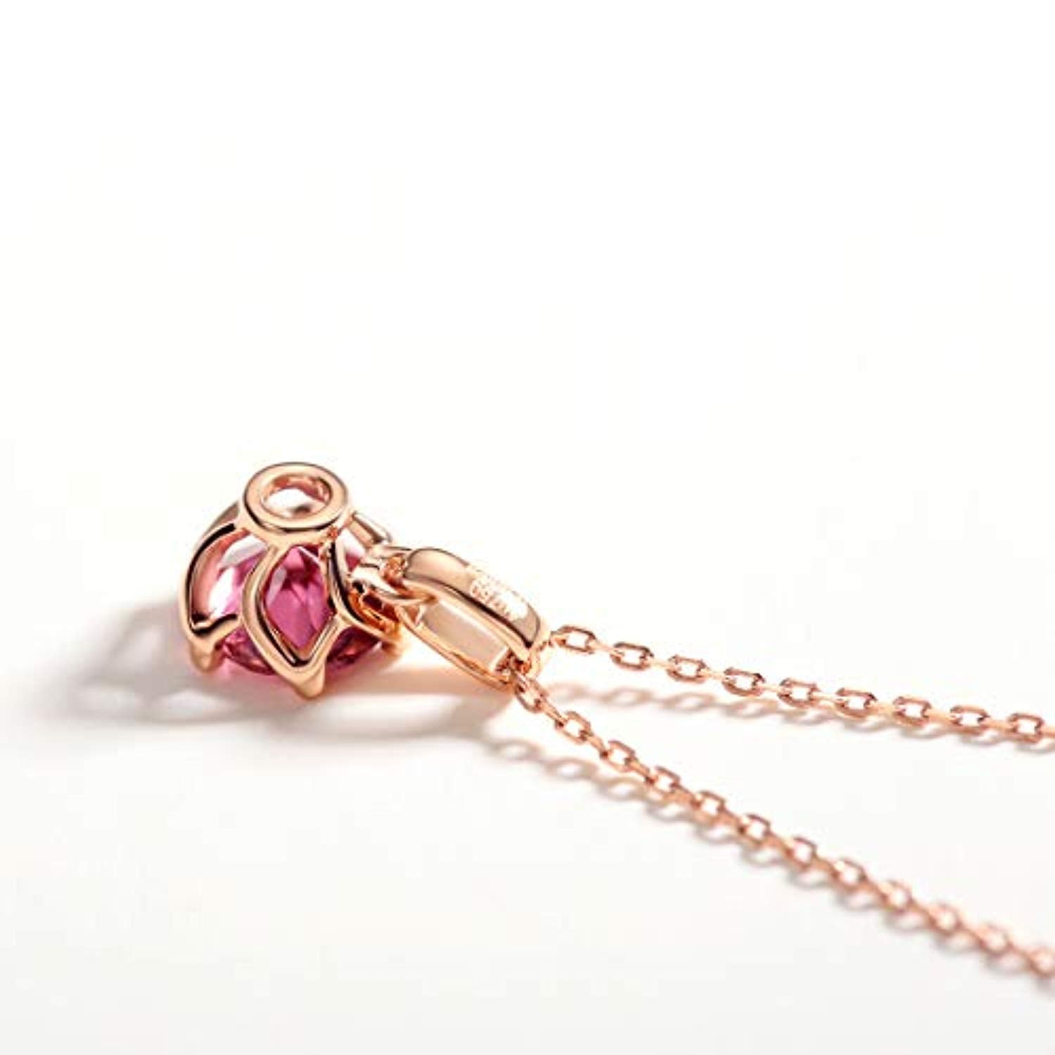 14K Solid Rose Gold Genuine Natural Pink Tourmaline Solitaire Pendant Necklace October Birthstone Gemstone Fine Jewelry