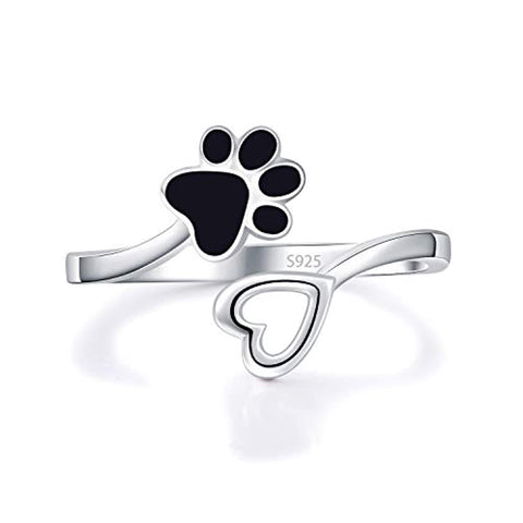 Silver Ring Paw Print Love Heart Open Adjustable Ring