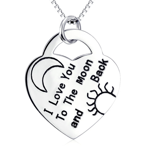 I Love You To The Moon And Back Necklace Wholesale 925 Sterling Silver Jewelry For Lovers Gifts