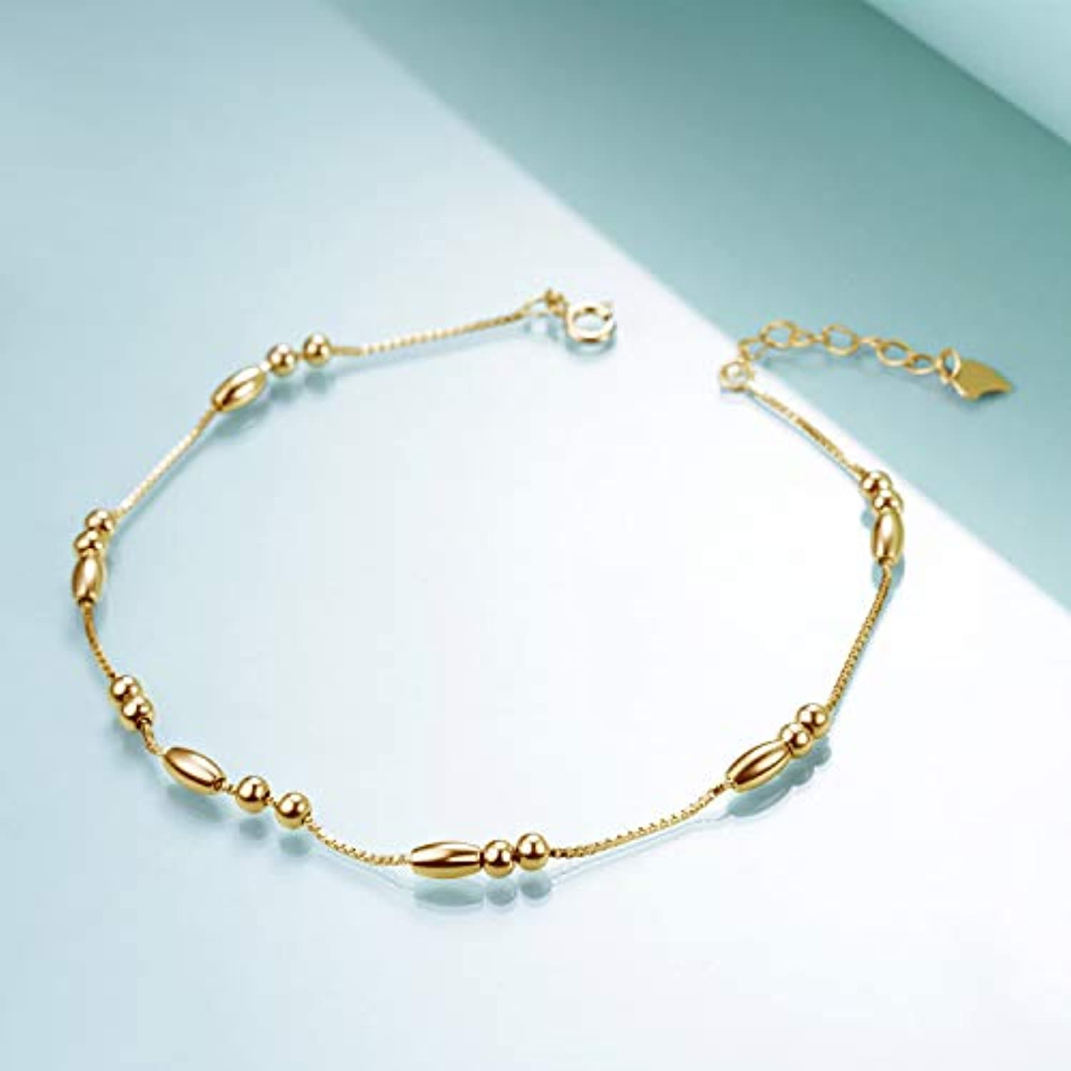 925 Sterling Silver Gold Bead Anklet for Women Girls Gifts