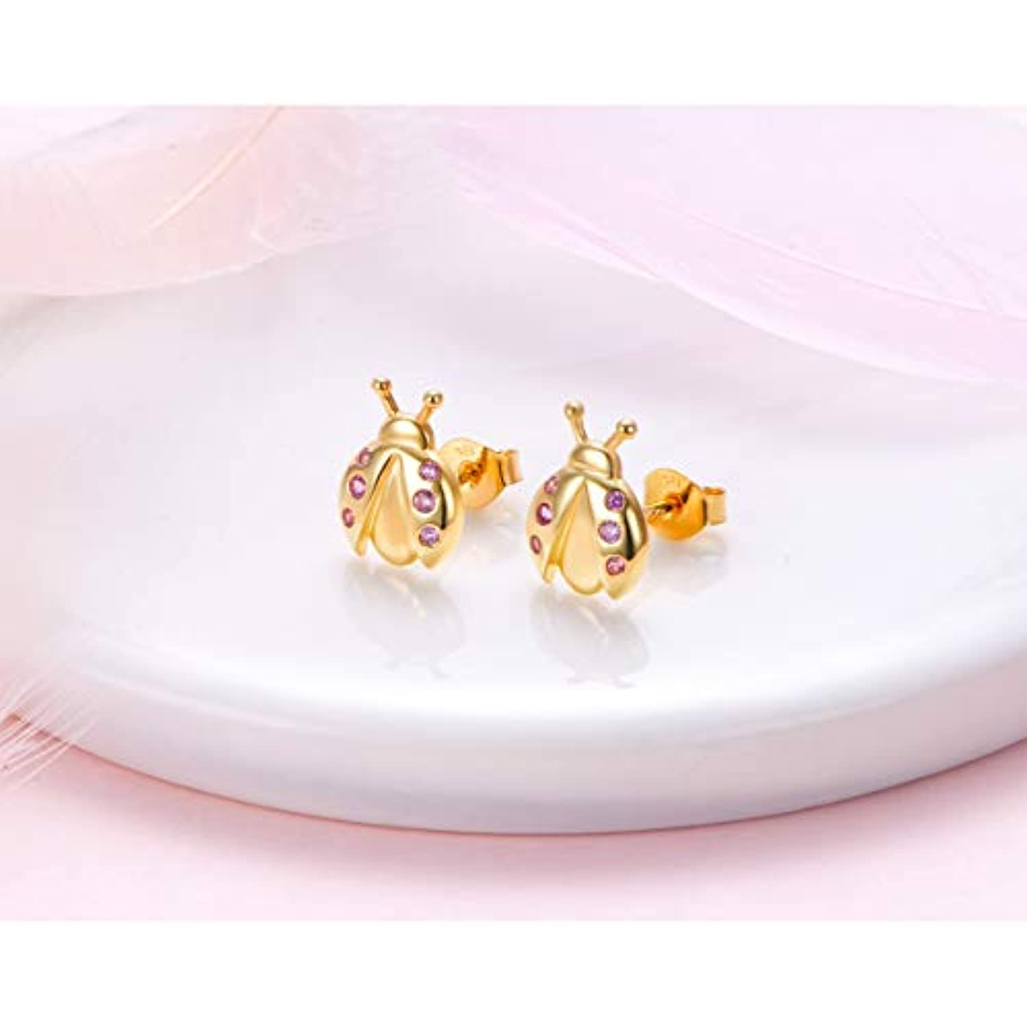 S925 Sterling Silver Animal Ladybug stud earrings