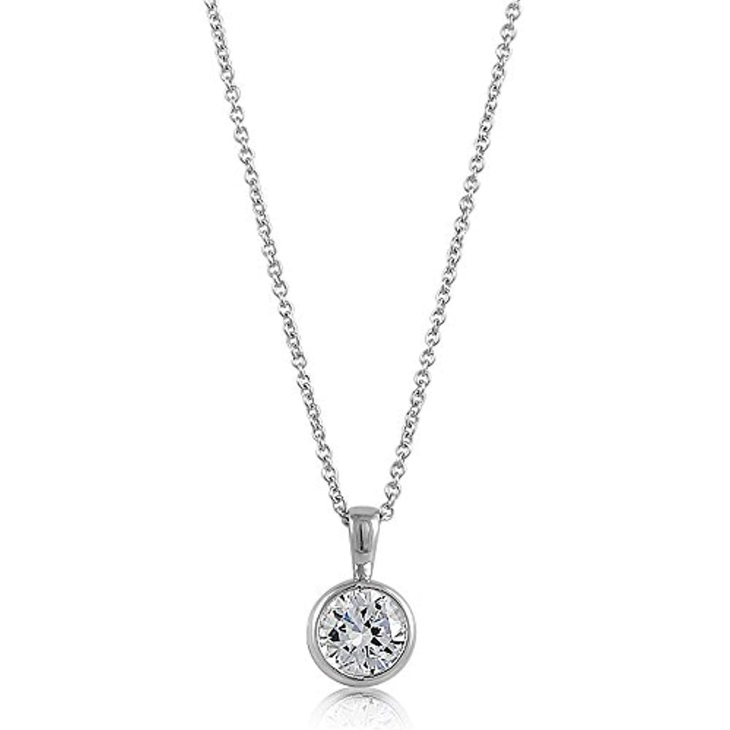 Rhodium Plated Sterling Silver Round Cubic Zirconia CZ Solitaire Anniversary Wedding Pendant Necklace