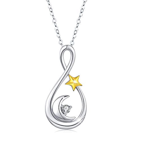 Silver Infinity Moon and Star Pendant Necklace