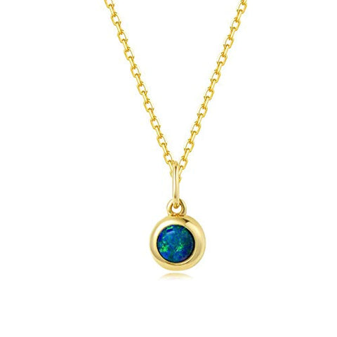 18K Yellow Gold Real Natural Fire Opal Hypoallergenic Bezel Round Pendant Necklace October Birthstone Fine Jewelry Gift for Women Girls