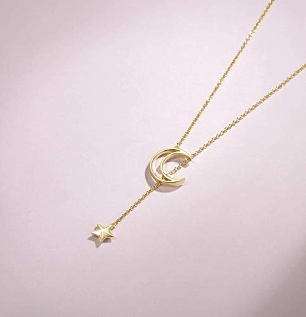 14K Yellow  Gold Plated S925 Sterling Silver Moon Star Pendant Necklace Dainty Fine Jewelry