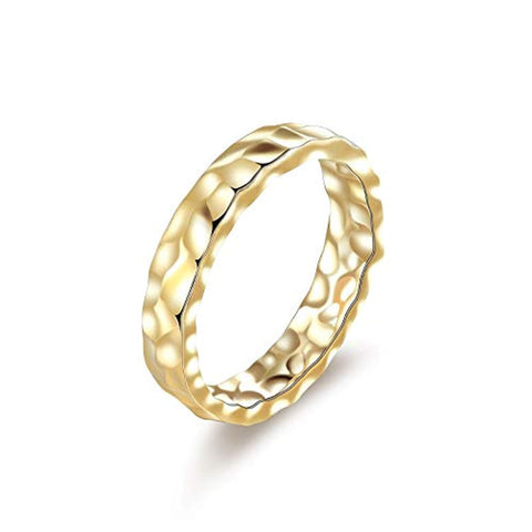 Gold  plated  Hammered Ring Fashion Jewelry Gifts for Women Girls