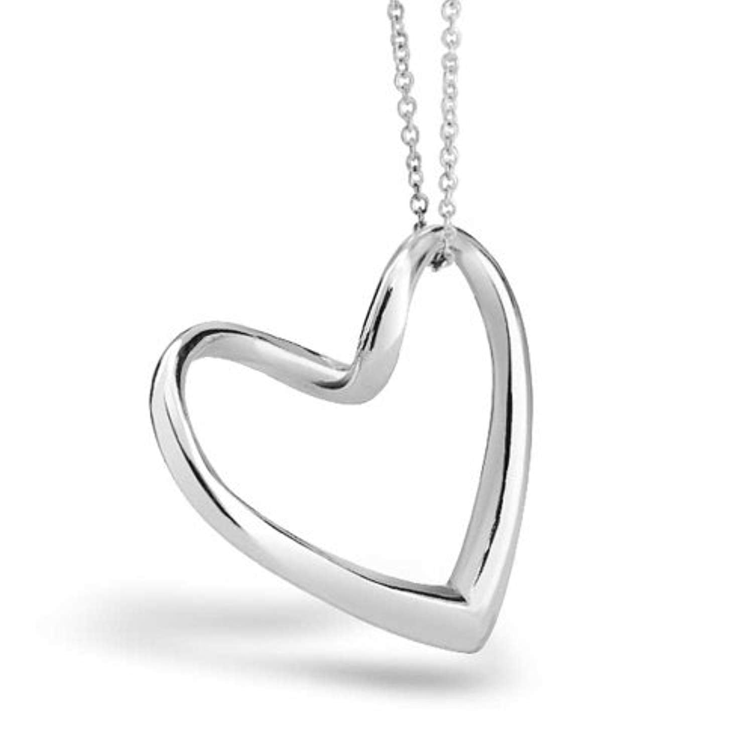 Floating Open Heart Pendant Necklace For Women For Girlfriend 925 Sterling Silver With Chain
