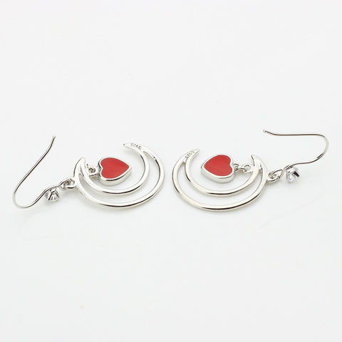 Japanese And Korean Version Of S925 Hollow Moon Earrings Temperament Personality Fashion Red Love Heart Shape