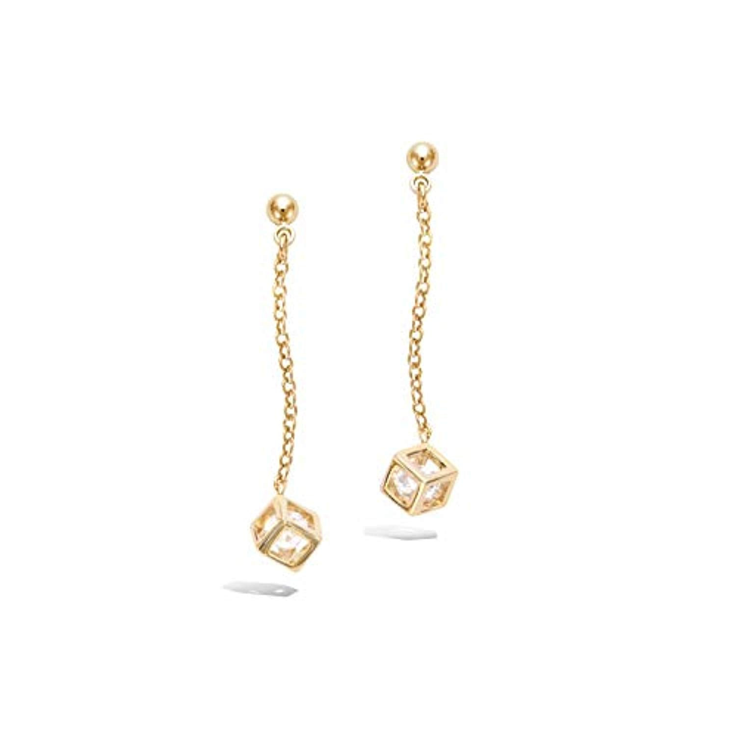 Sterling silver Gold plated CZ Dangle Drop Earrings Fashion Jewelry