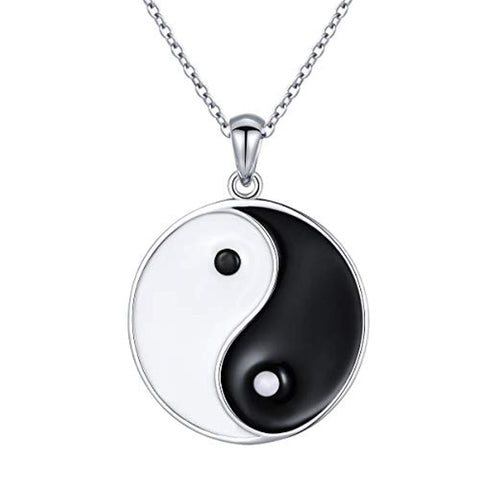 S925 Sterling Silver Ying Yang Tai Chi Pendant Necklaces