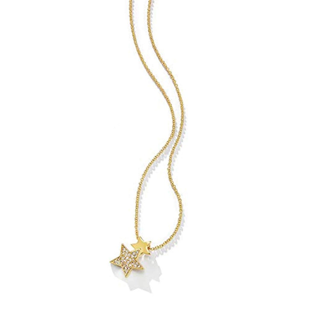 14K Yellow Gold Plated Sterling Silver Cubic Zirconia CZ Star Pendant Necklace Dainty Fine Jewelry