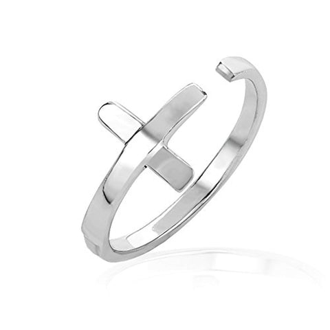 925 Sterling Silver Wrap Around Christian Cross Above Knuckle Toe or Thumb Ring, Adjustable 3-5