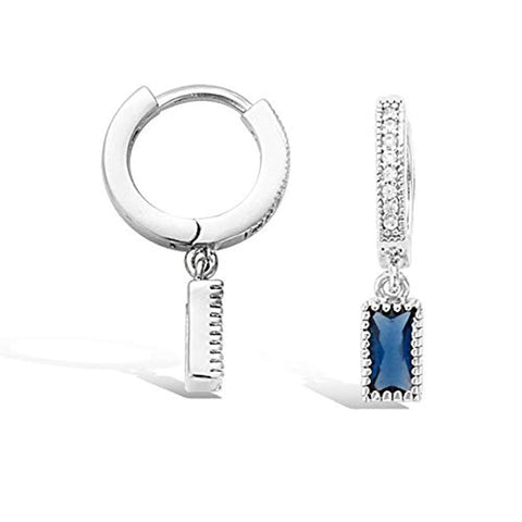 925 Sterling Silver Small Huggie Hoop Earrings Gold Plated Sapphire CZ Tiny Dangle Drop Earrings for Women