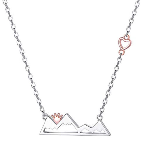 Snow Caps Mountain Heart Range Necklace