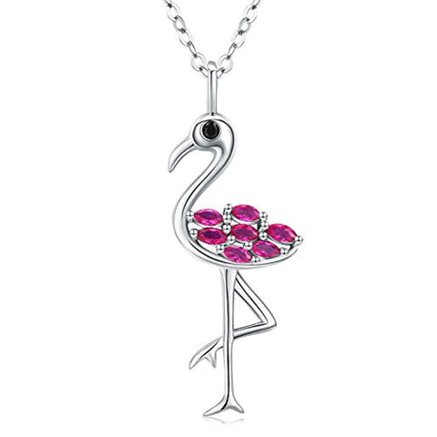 Silver Flamingo Necklace Animal Pendant