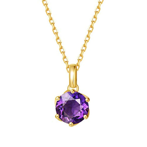 14K Solid Yellow Gold Genuine Natural Amethyst Solitaire Pendant Necklace February Birthstone Gemstone Fine Jewelry Gifts