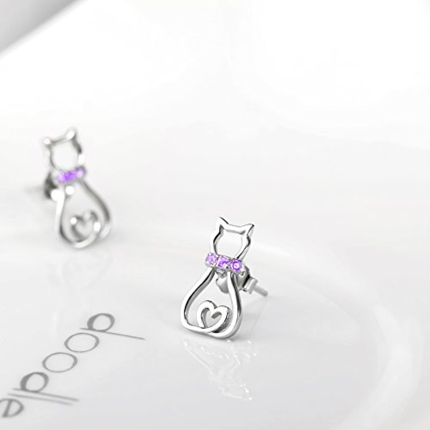 Cat Stud Earrings for Women Girls Sterling Silver Mini Pet Cats Earrings Jewelry Studs