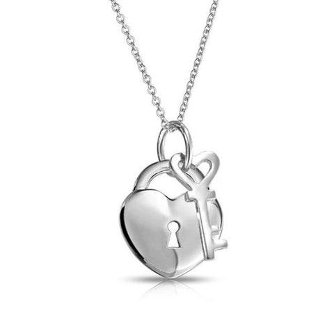 Simple 2 Charm Love Lock And Key Heart Pendant Necklace For Women For Teen 925 Sterling Silver