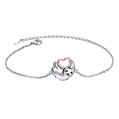 Cute Animal Sloth Heart Bracelet