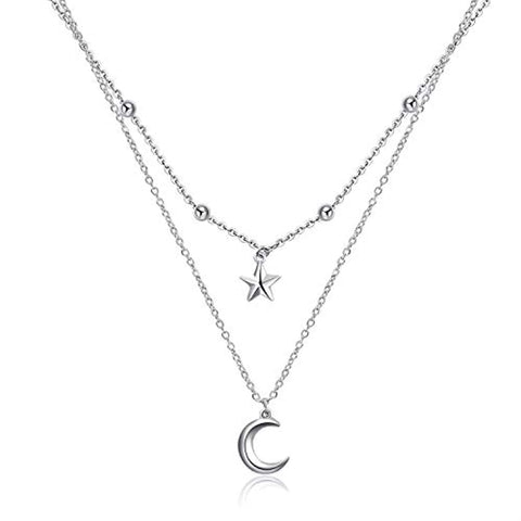 Silver Star Crescent Moon Pendant Necklace