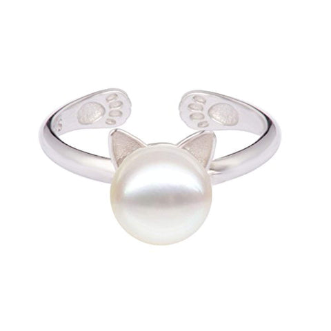 Cat Pearl Ring Sterling Silver