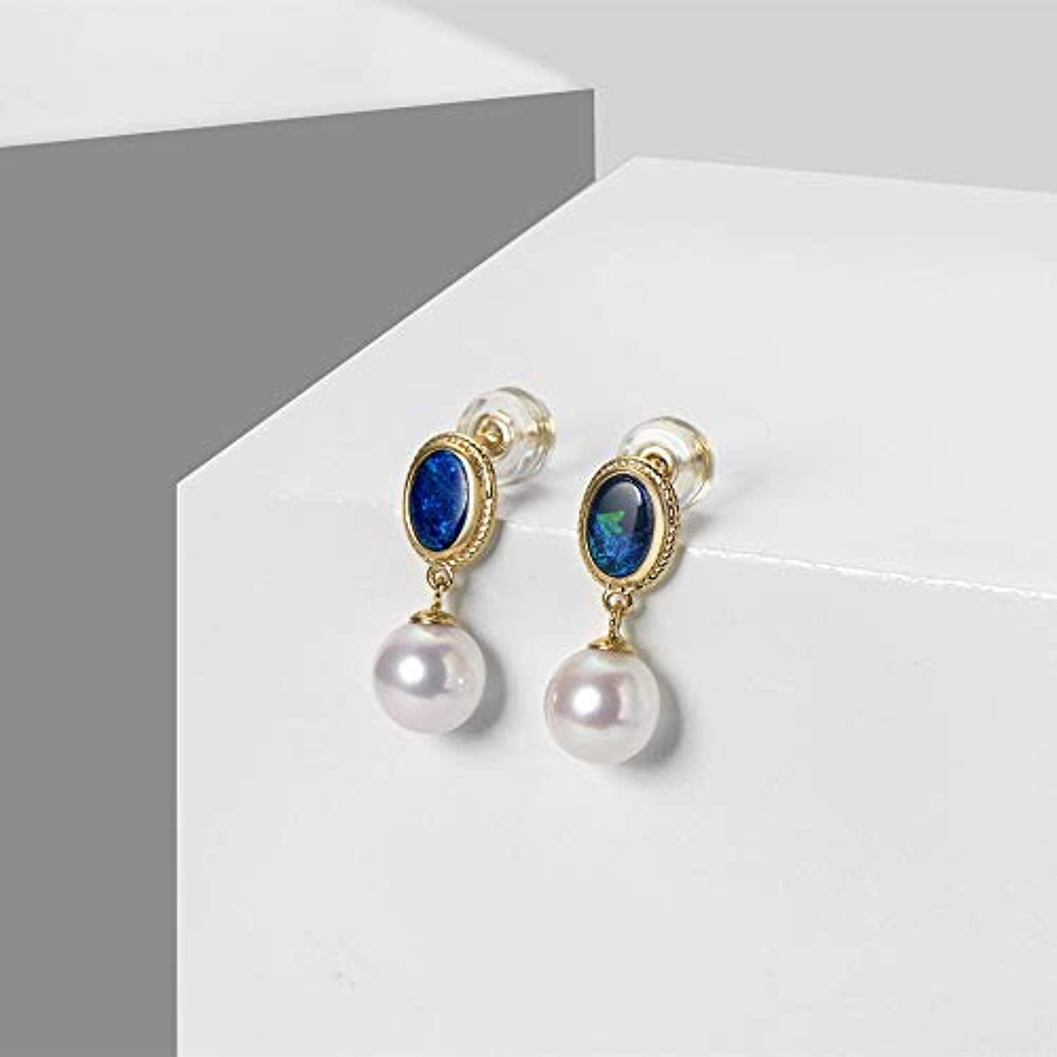 18K Yellow Gold  Oval Real Genuine Natural Fire Opal Freshwater Pearl Dangle Earrings Elegant October Birthstone Fine Jewelry Gift for Women Girls