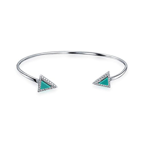 Stackable Thin Minimalist Compressed Turquoise Arrow Pyramid Bangle Cuff Bracelet For Women For Teen 925 Sterling Silver
