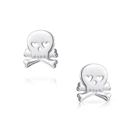 Caribbean Pirate Skull And Crossbones Heart Eyes Stud Earrings For Men For Women Teen Polished 925 Sterling Silver