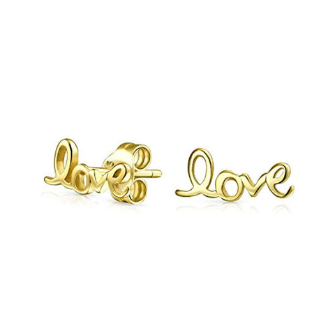 Love Word Script Cursive Expressions Stud Earrings 14K Gold Plated 925 Sterling Silver