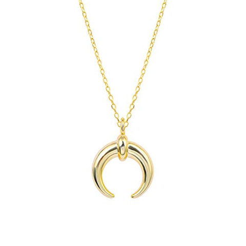 Silver Gold Plated Crecent Moon Pendant Necklace