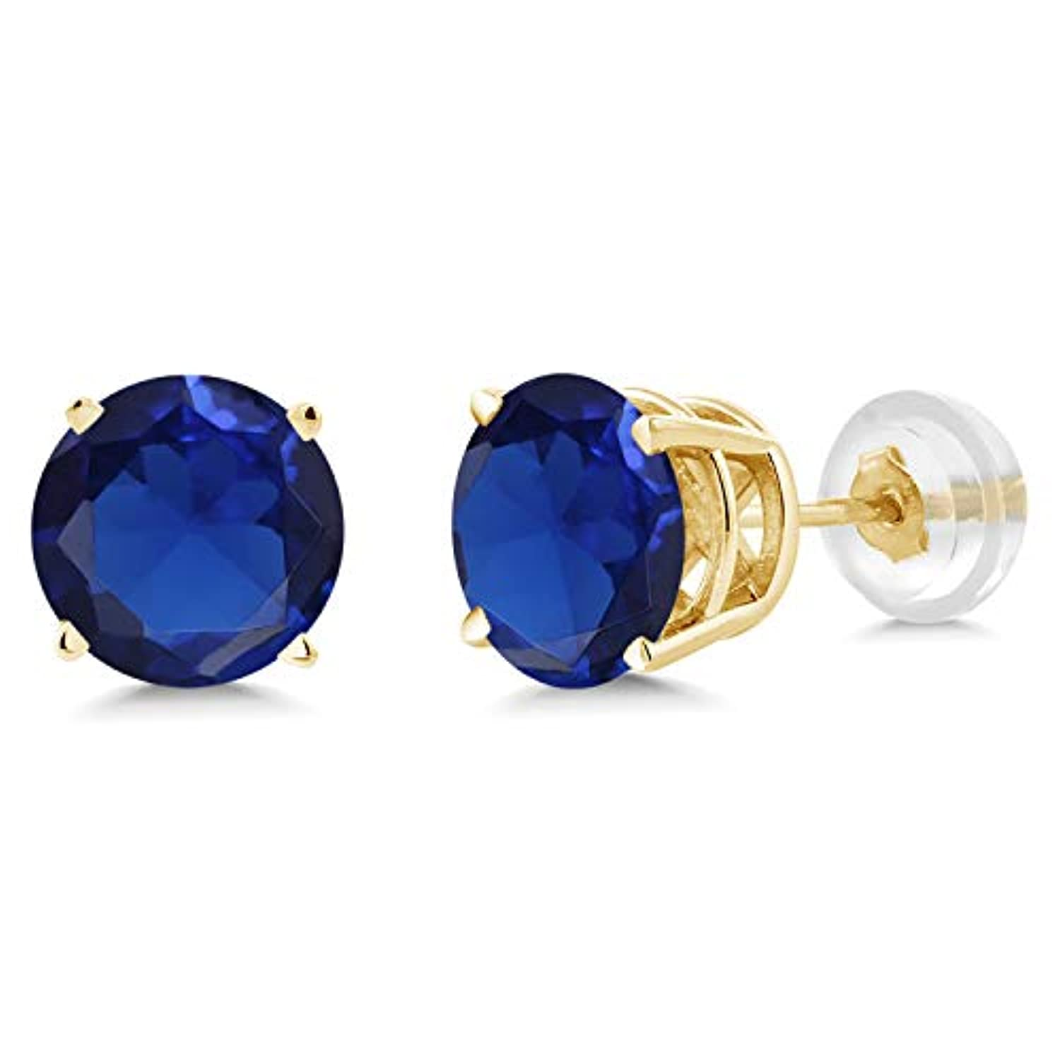 14K Gold Blue Created Sapphire Stud Earrings