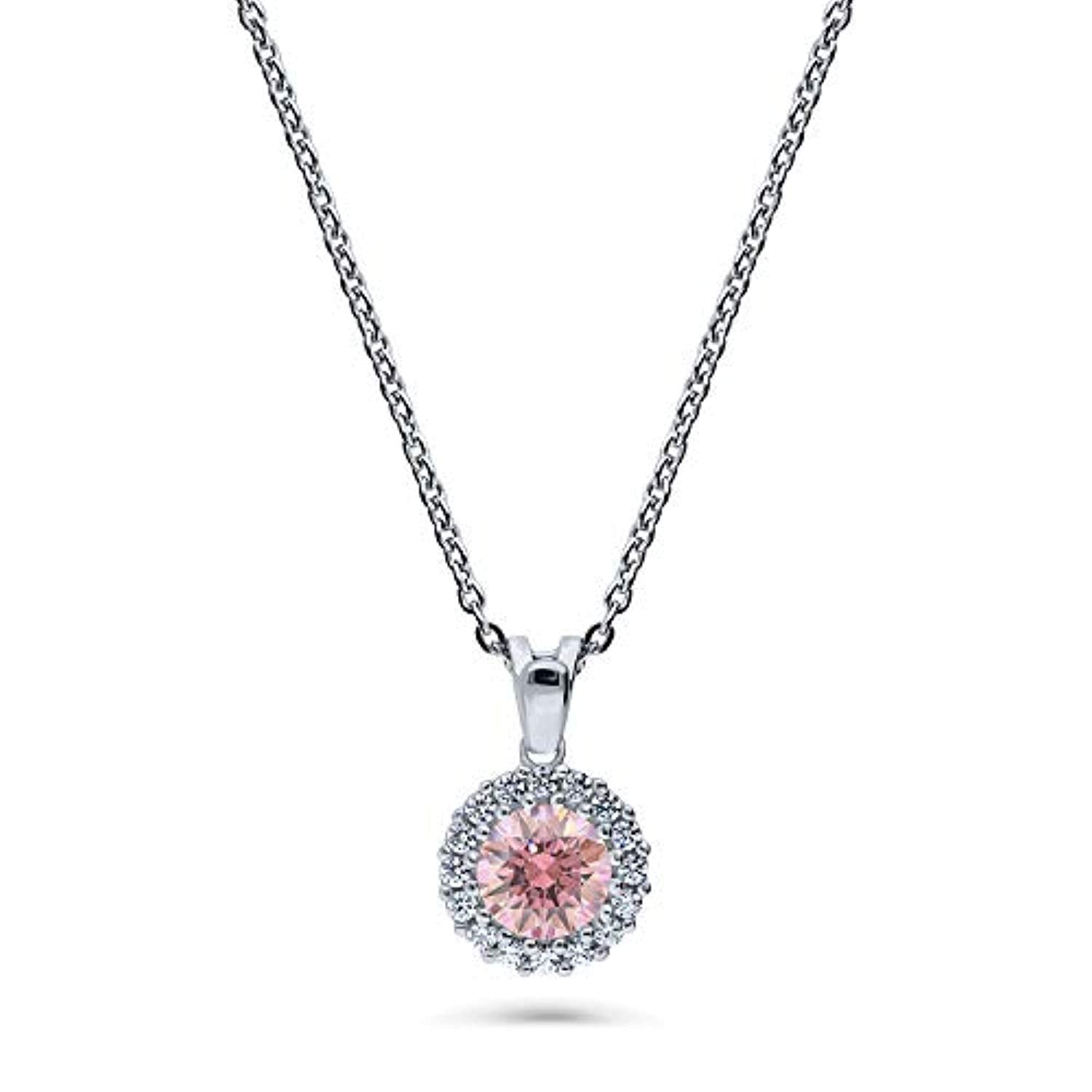 Rhodium Plated Sterling Silver Halo Anniversary Wedding Pendant Necklace Made with Swarovski Zirconia Morganite Color Round