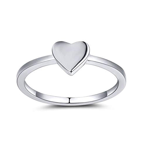 925 Sterling Silver Heart Shaped Ring Engagement Wedding Band Rings