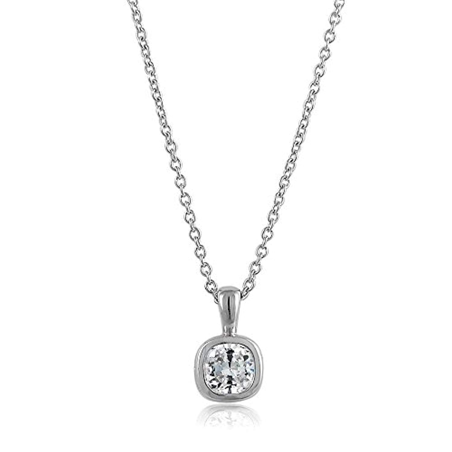 Silver Cushion Cut  CZ Pendant Necklace