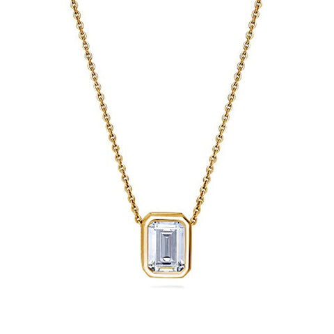 Yellow Gold Flashed Sterling Silver Emerald Cut Cubic Zirconia CZ Solitaire Anniversary Wedding Pendant Necklace